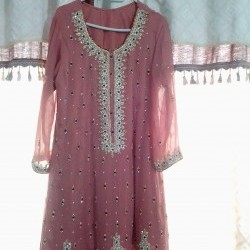 Ladies Wedding Dress Embroidered Tea Pink Color (Used Once)