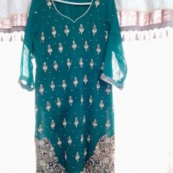 Ladies Wedding Dress Embroidered Green Color (Used Once)
