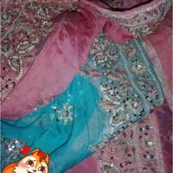 Sky blue and baby pink lehnga