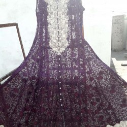 Formal net embroidered gown